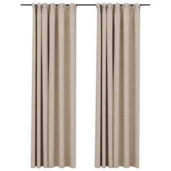 Zatemnitvene zavese z obešali 2 kosa bež 140x225 cm