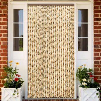 Zavesa proti mrčesu bež in rjava 100x220 cm šenilja