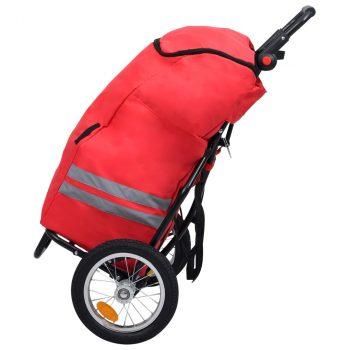 Zložljiva tovorna kolesarska prikolica s torbo rdeča in črna