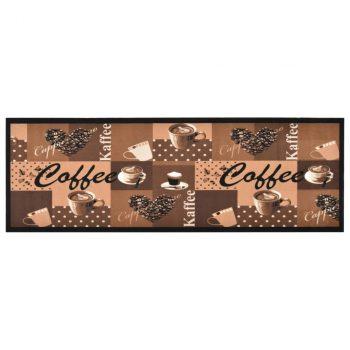 Kuhinjska preproga pralna motiv kave rjava 60x300 cm