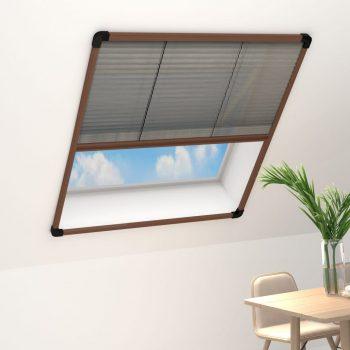 Plise komarnik za okna aluminij rjav 100x160 cm