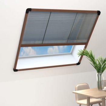 Plise komarnik za okna aluminij rjav 120x160 cm