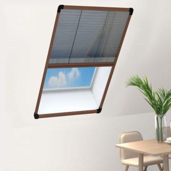 Plise komarnik za okna aluminij rjav 80x160 cm